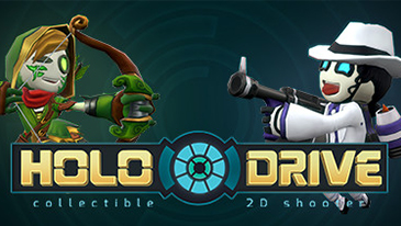 "Holodrive - A free-to-play 2D multiplayer shooter developed by BitCake Studio and published by Versus Evil in which players play as customizable robots or ""Dummys""."